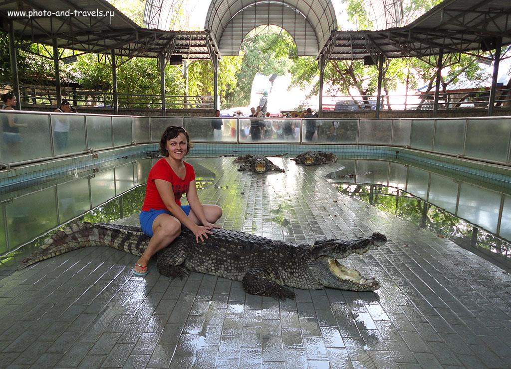 """11. Верхом на крокодиле в парке """"Million Years Stone Park & Crocodile Farm"""". Отзыв об экскурсии в Паттайе. Первое путешествие по Таиланду."""