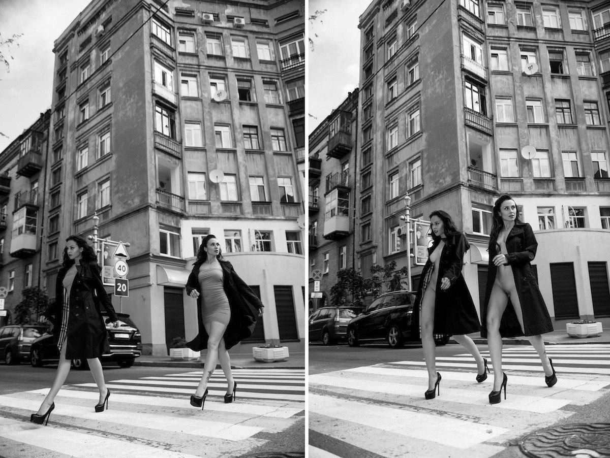 Две обнажённые девушки гуляют по осеннему Киеву 03