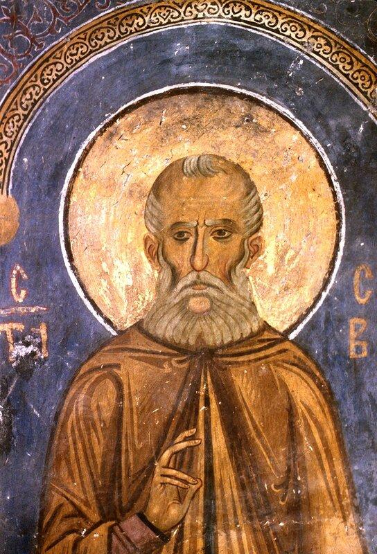 Святой Преподобный Савва Освященный. Фреска церкви Богородицы в монастыре Студеница, Сербия. 1208 - 1209 годы.