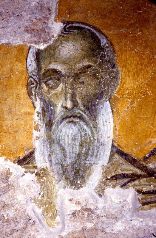 Лик святого. Фреска монастыря Бачково, Болгария. Конец XI века.