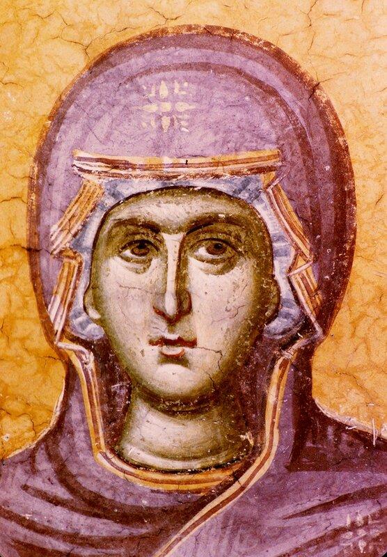 Пресвятая Богородица. Фрагмент фрески монастыря Грачаница, Косово, Сербия. Около 1320 года.