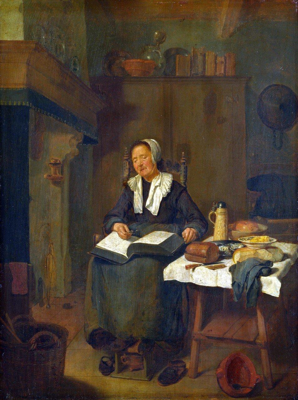 A Woman Asleep by a Fire