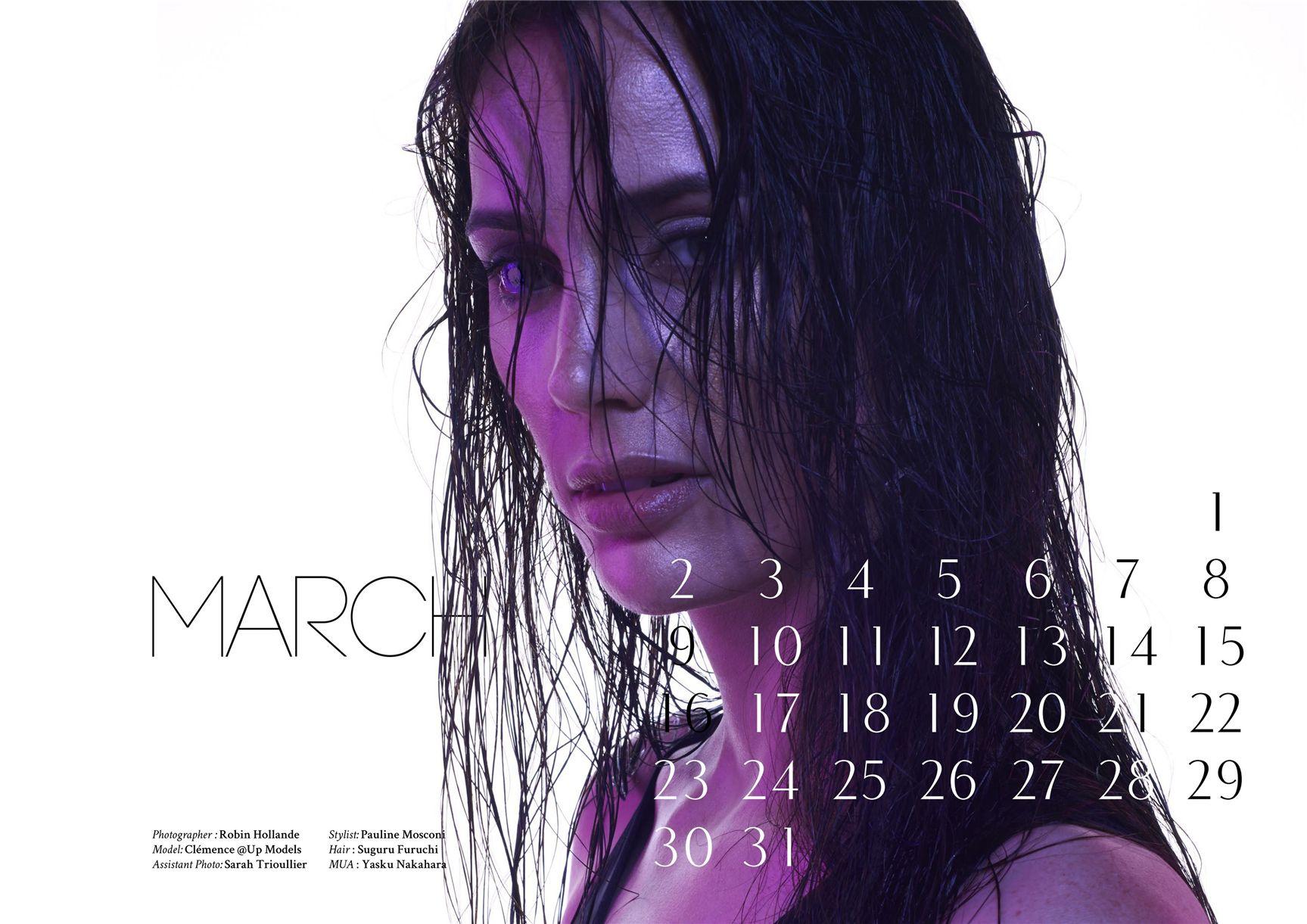модно-артистический календарь журнала Bizart 2015 calendar - Clemence by Robin Hollande