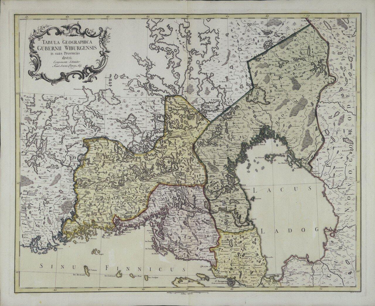 1750. Карта Выборгской губернии