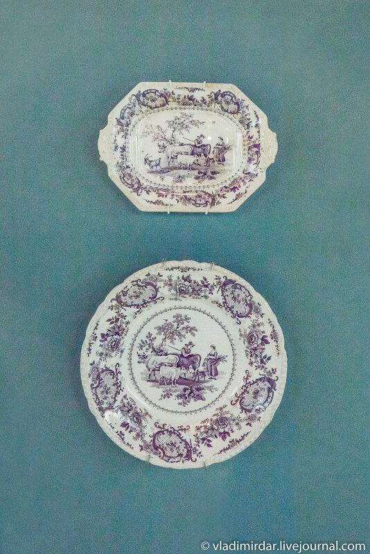 Лоток и тарелка с сельским видом. Англия. Стаффордшир.