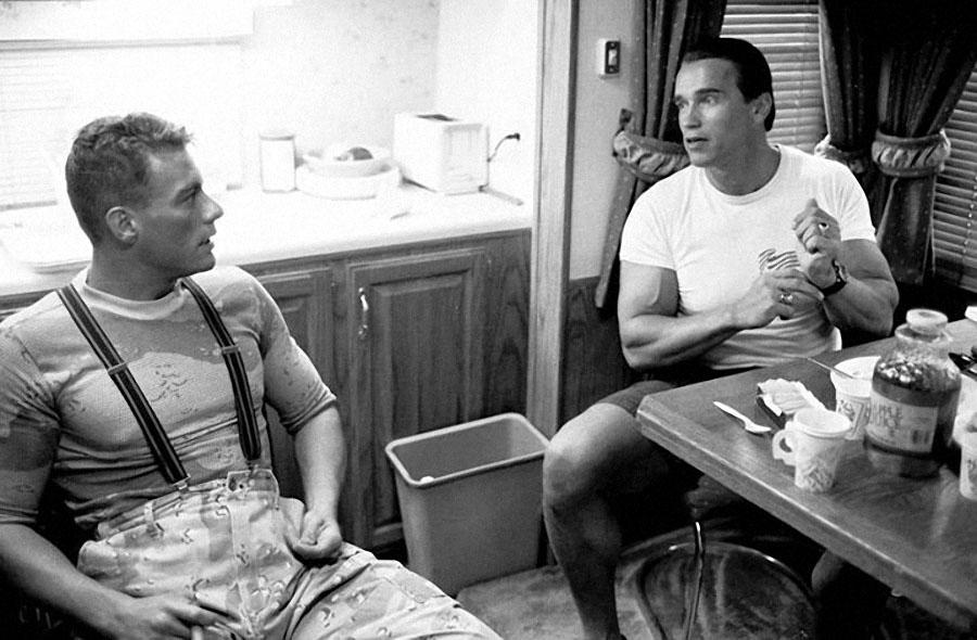 """Жан-Клод Ван Дамм и Арнольд Шварценеггер на съемках фильма """"Универсальный солдат"""", 1991 го"""