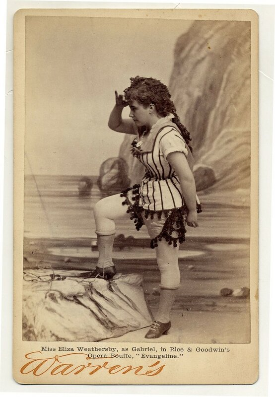 """1890. Eliza Weathersby, as Gabriel in Rice & Goodwin's opera bouffe, """"Evangeline"""", probably in a performance at Boston Museum, 1877."""