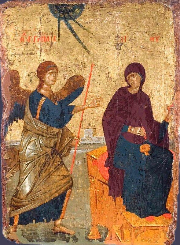Благовещение Пресвятой Богородицы. Икона. Балканы, 1350 год. Народный музей, Белград.