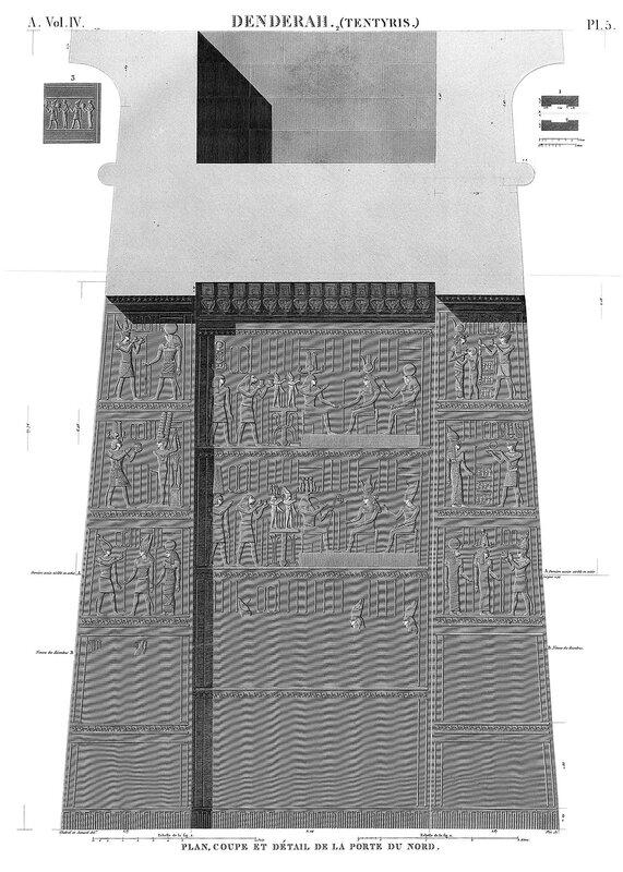 Святилище Хатхор в Дендре, Египет, северные ворота, разрез