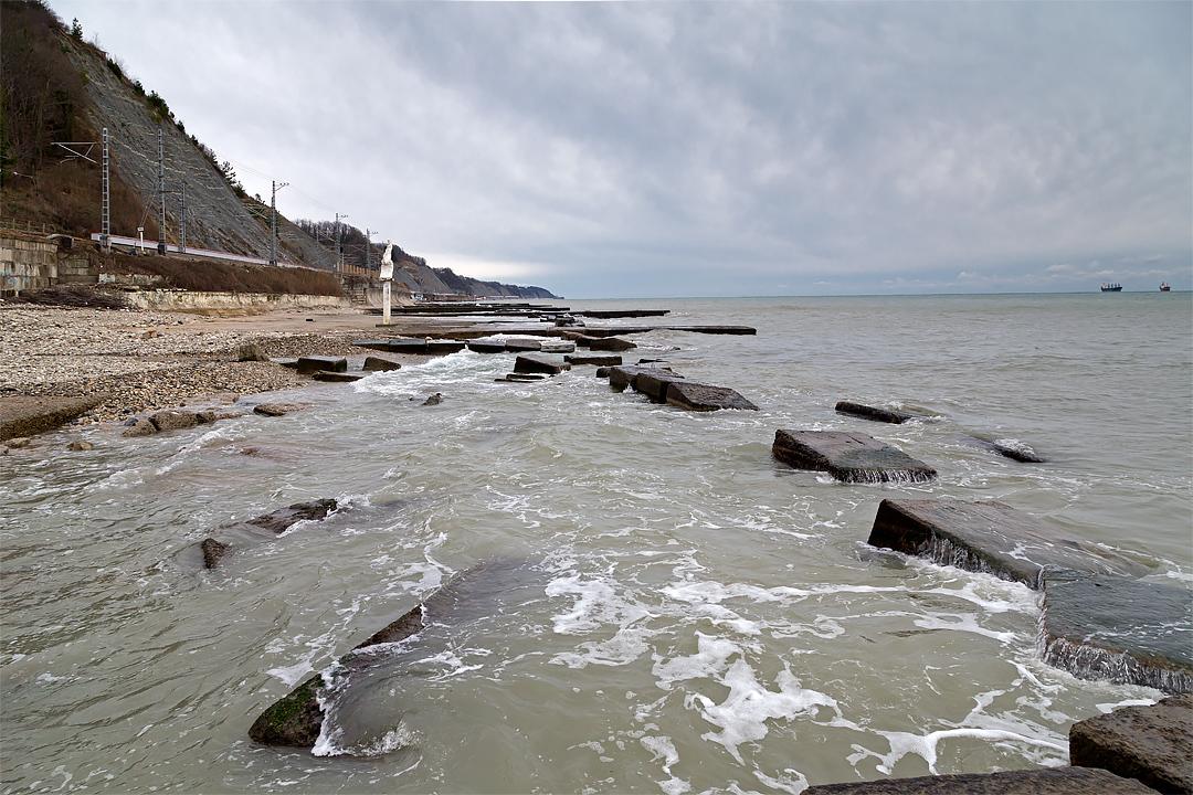 Пляж Гизель-Дере зимой