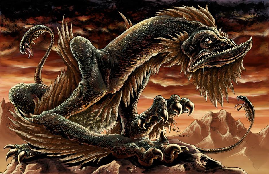 Крылатая змея с двумя хоботами и птичьим клювом. Живет высоко в горах и периодически совершает опуст