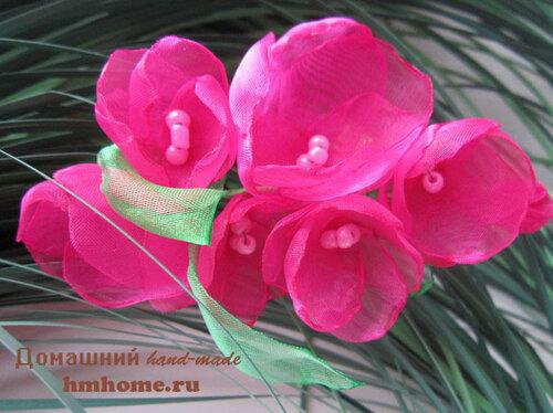 Мастер-класс: цветы из органзы