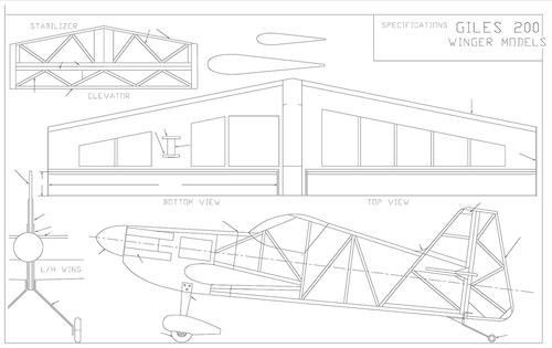 Чертеж модели самолёта Giles 200