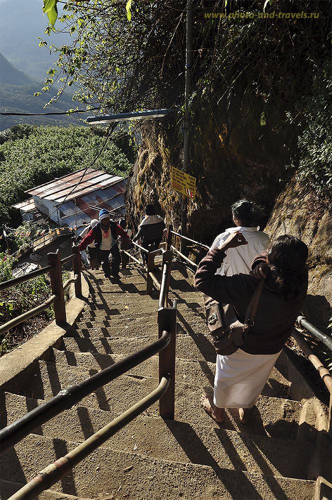 Фото №6. Шри-Ланка отзывы об экскурсиях. Спуск с Пика Адама не менее сложный, чем подъем: очень болят суставы в коленях. Рекомендую взять с собой на восхождение палки, которые примут на себя часть веса туриста.