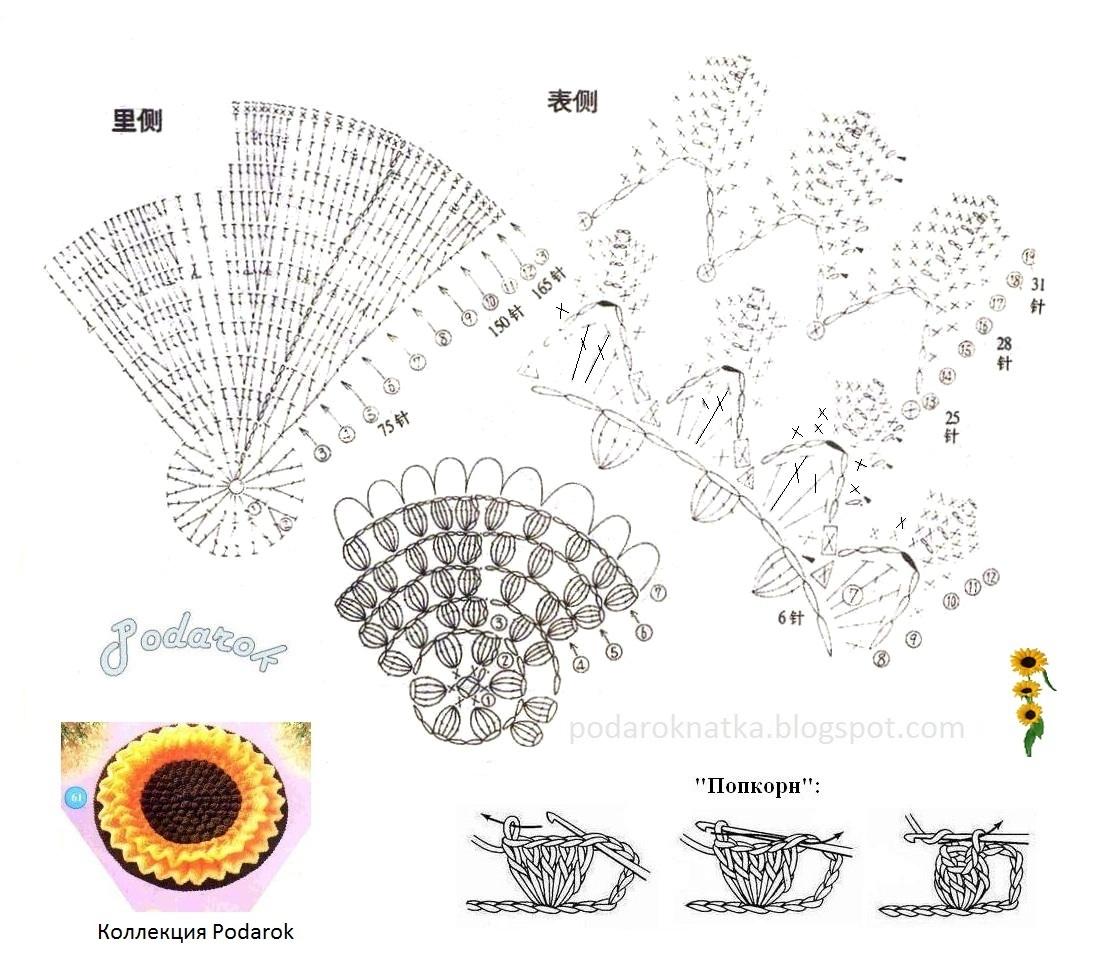 Схема вязания подсолнухов для шали крючком