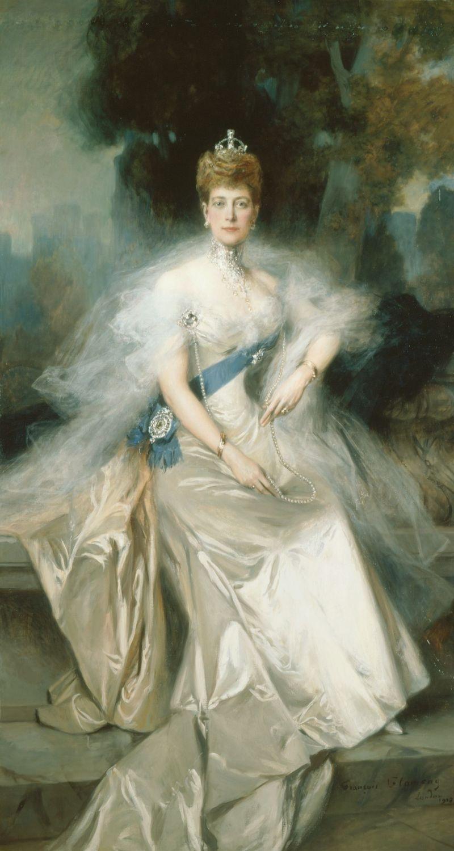 Королева Александра (1844-1925)  Подпись и дата +1908 Белая Гостиная, Букингемский дворец