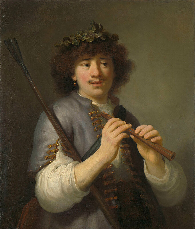 """Говерт Флинк """"Рембрандт в образе пастушка с флейтой"""" (ок. 1636)"""
