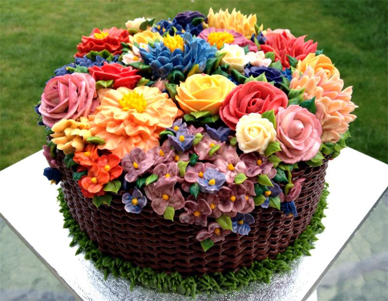 Торты кремовые с цветами фото