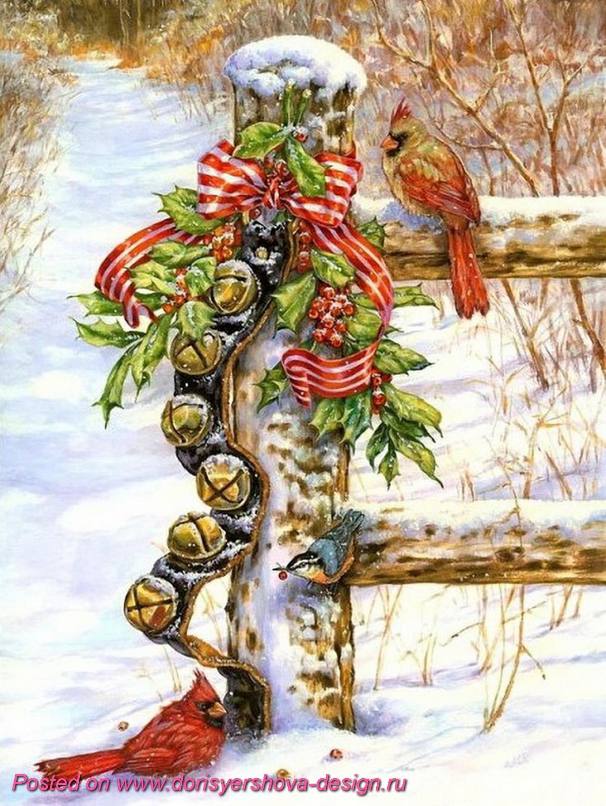 красный кардинал, рождество