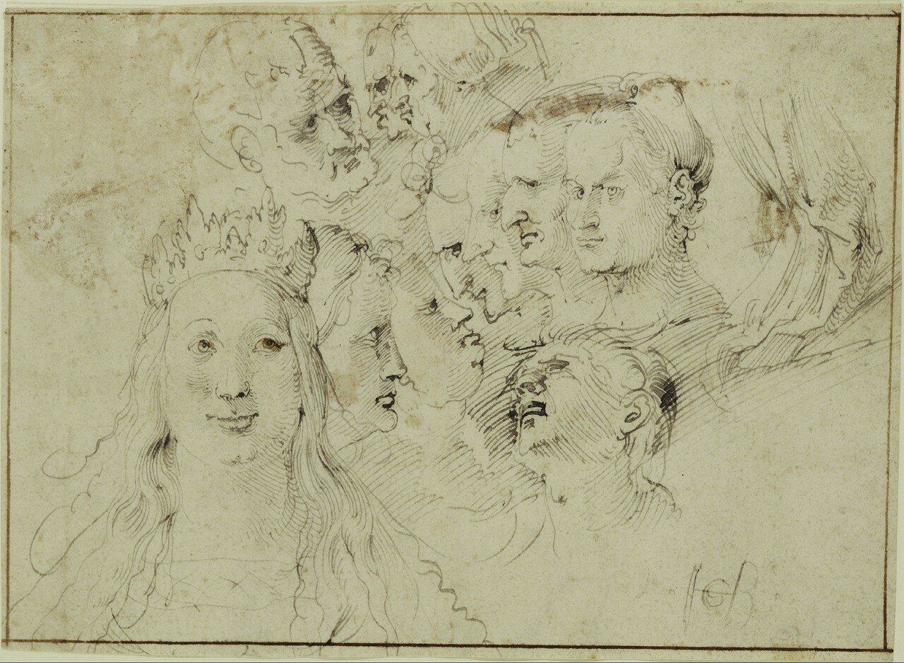 Studies of Heads (recto),  Studies of a Male Figure (verso)