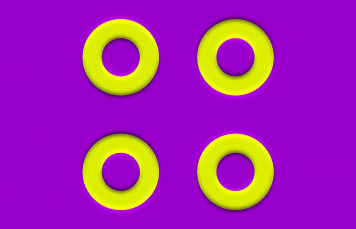 Оптические иллюзии были очень популярны в 1960-х годах.  2. В середине этой иллюзии — квадрат, ко