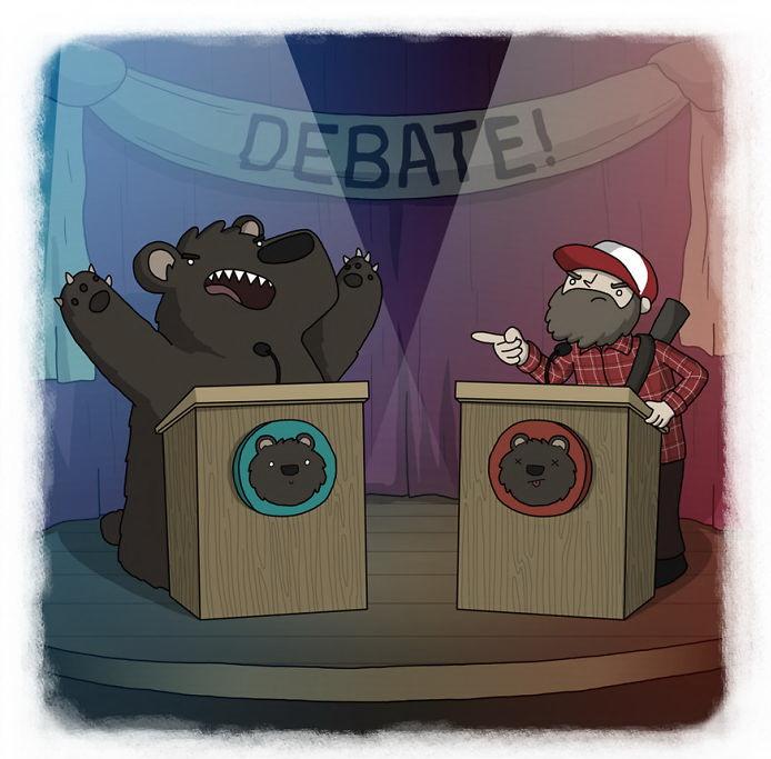 Медведь и охотник никогда не сойдутся во мнениях (норвежская пословица)