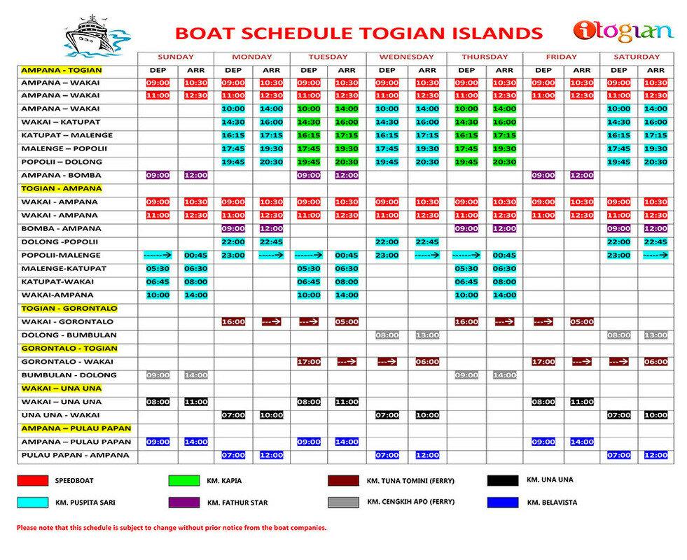 Расписание транспорта на Тогеанах