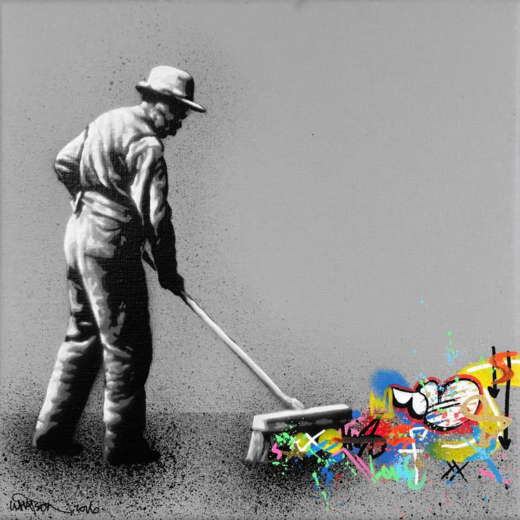 Behind the curtain - The latest street art creations of Martin Whatson