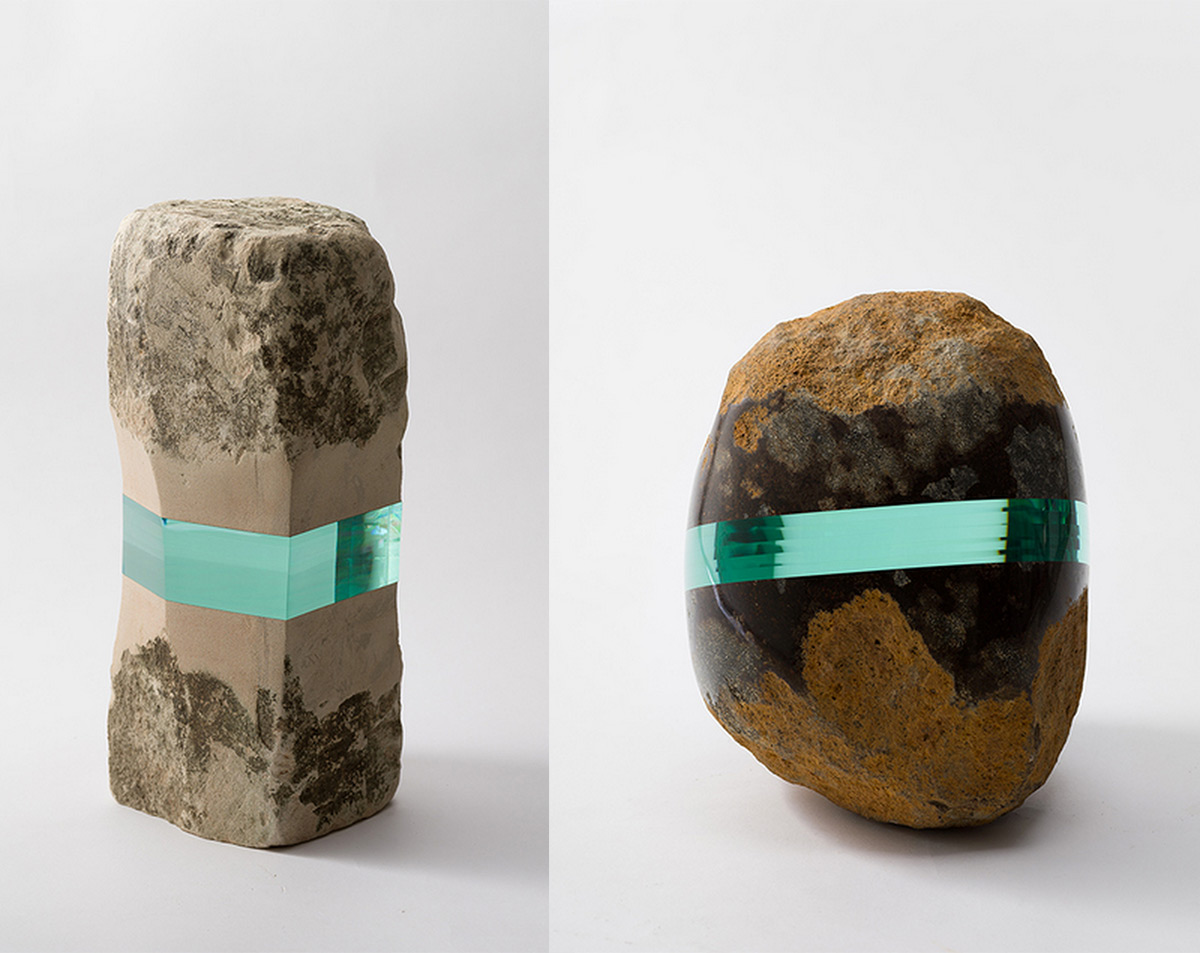 Books and Stones Embedded with Sleek Layers of Laminate Glass by Ramon Todo