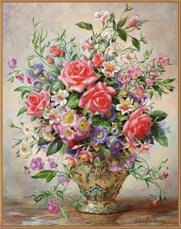Цветы в декоративной вазе (Roses, Oriental lilies, carnations, fuschias and daisies in an ornate vase)_71.8 х 55.9_х.,м._Частное собрание.jpg