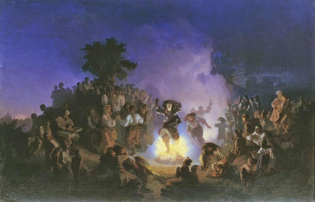 Соколов Ночь на Ивана Купалу 1856 открытки фото рисунки картинки поздравления