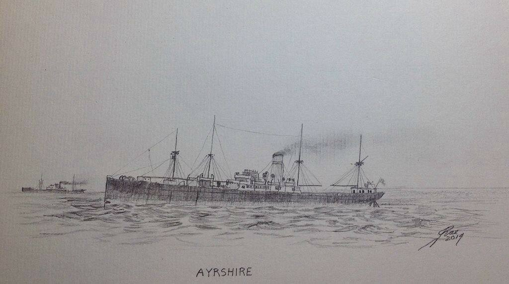 A small pencil sketch of Ayshire 1903 - 1928. Scottish Shire Line was taken over by the Clan Line in 1918.