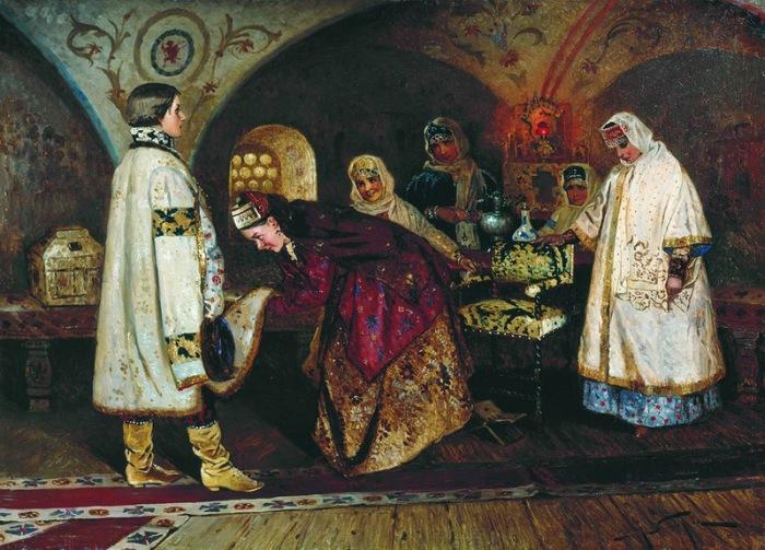 Первая встреча царя Алексея Михайловича с боярышнею Марией Ильиничной Милославской (Выбор царск