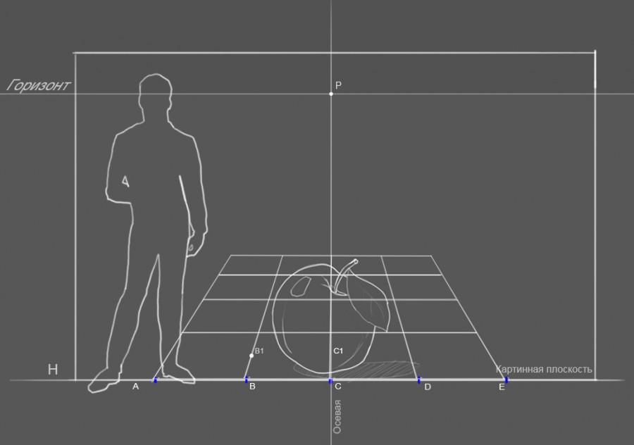 21. Высота фигуры человека на картинке и высота смотрящего, находящегося в точке осмотра -170 см., р