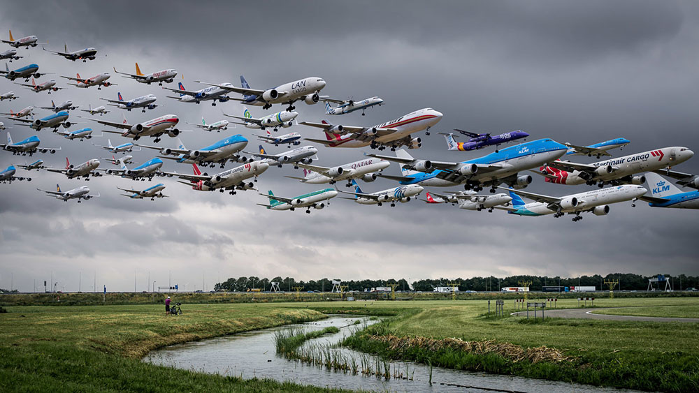 Airportraits: Composite Flight Path Photos Capture Planes Landing and Departing from Worldwide Airports