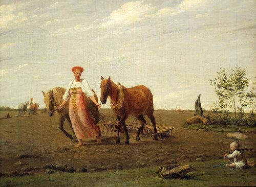 "А.Г. Венецианов. ""На пашне. Весна"". Первая половина 1820-х"