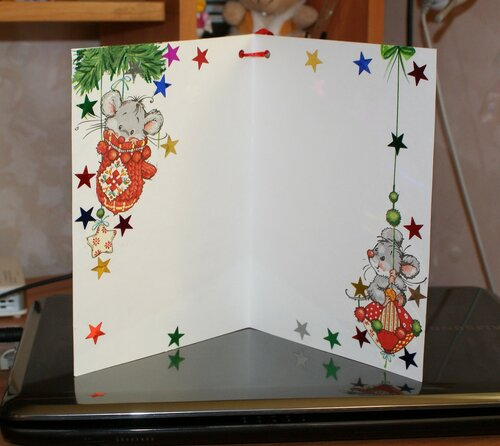 Новогодняя открытка с мышатами (вид внутри)