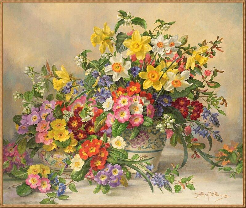 46 Весенние цветы в керамической вазе (Spring Flowers and Poole Pottery)_х.,м._Albert Williams (1922-2010). Частное собрание.jpg