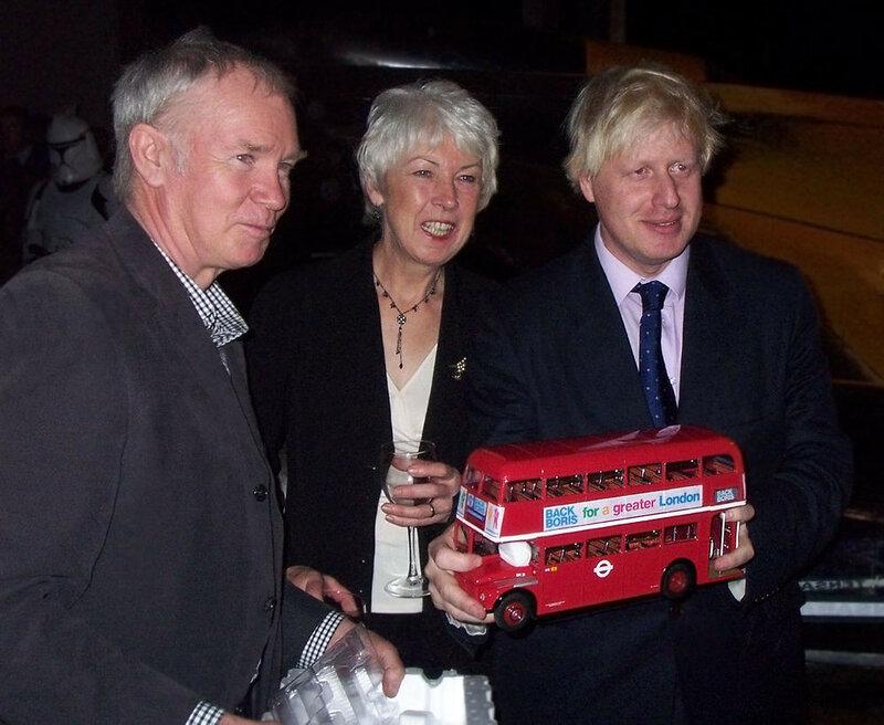 1907 Boris Johnson with a model of a Routemaster wearing the slogan Back Boris for a greater London for his 2008 London mayoral campaign..jpg
