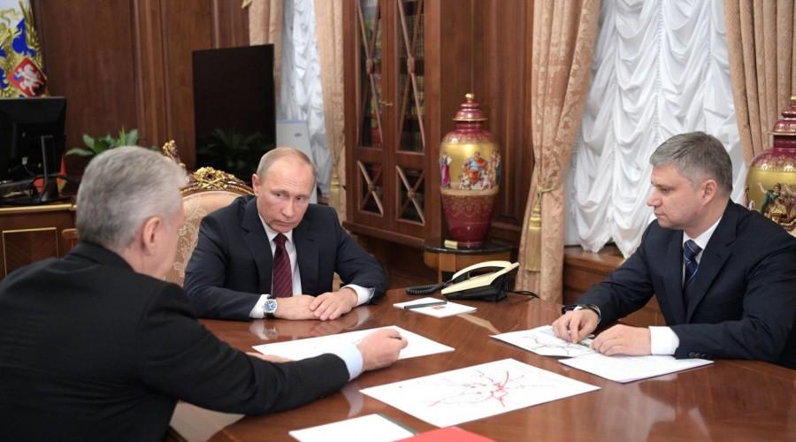 Владимир Путин провел рабочую встречу с мэром Москвы и главой РЖД