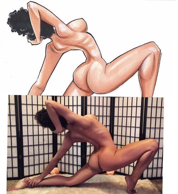 Обнаженная йога симпатичной мулатки