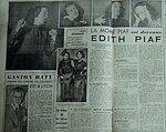 Edith Piaf Article provenant de la revue 7 jours °50 octobre 1941