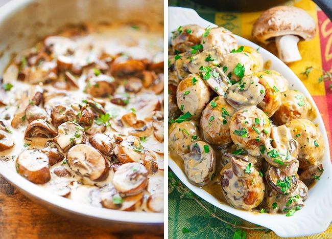 © damndelicious  Рецепт. Ингредиенты (на 8 порций): 1 кг свежих грибов 10 ст. л. сметаны 2,5 с