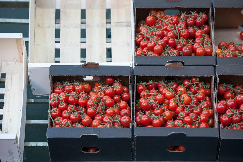 tomato in box in Borough market in London