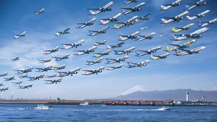 Airportraits - Bringing together all the planes taking off in a single picture