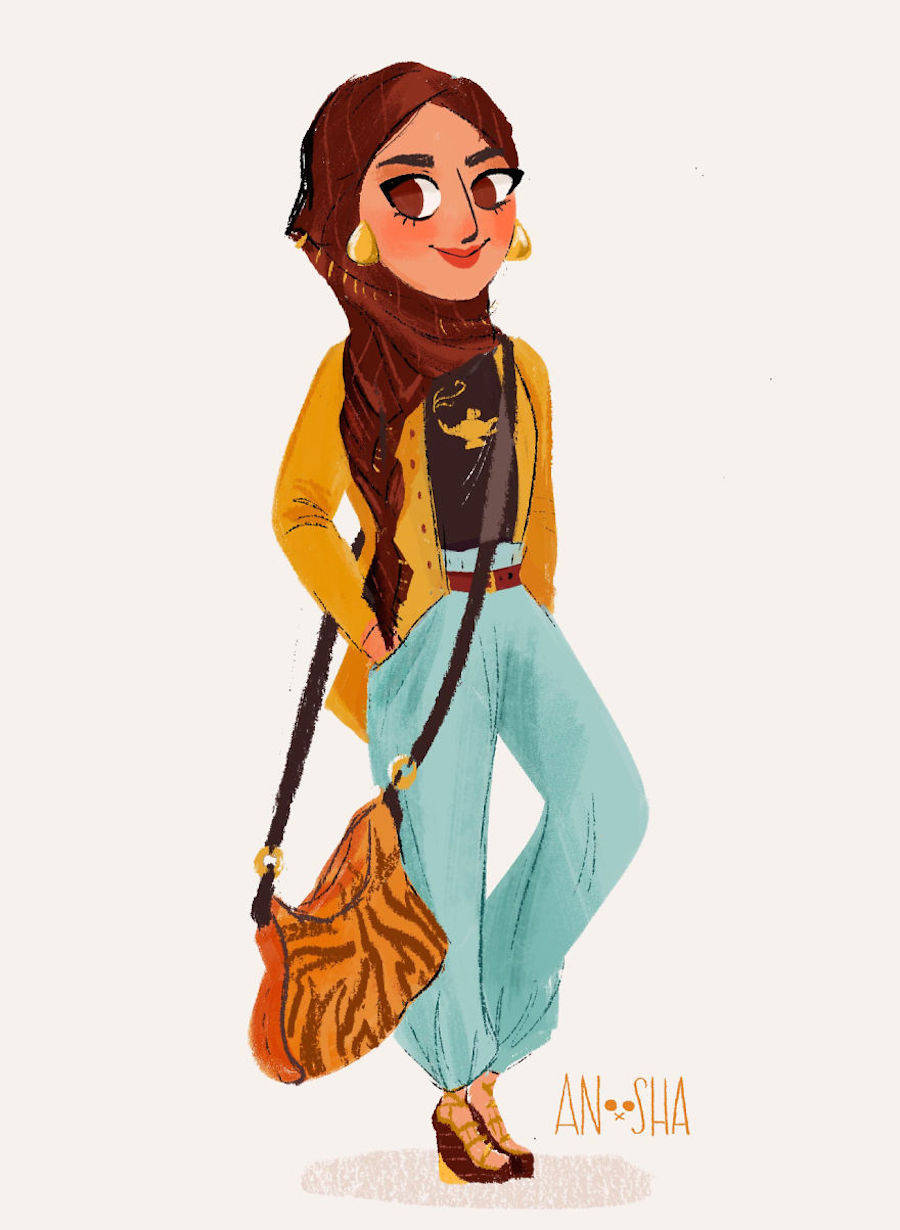 Illustrated Disney Princesses Reimagined As Modern Girls Living In The 21st Century