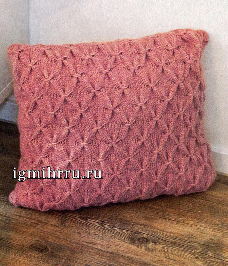 Розовая подушка с имитацией буфов. Вязание спицами
