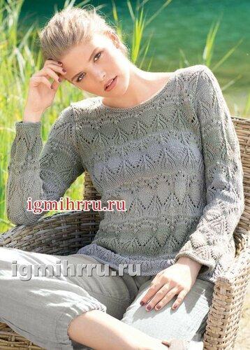 Классический пуловер с ажурным узором. Вязание спицами