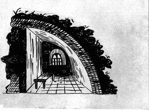 5.Одиночная камера в одной из куртин Петропавловской крепости. Зарисована Зубковым, заключенным по процессу декабристов в январе 1826 года..jpg