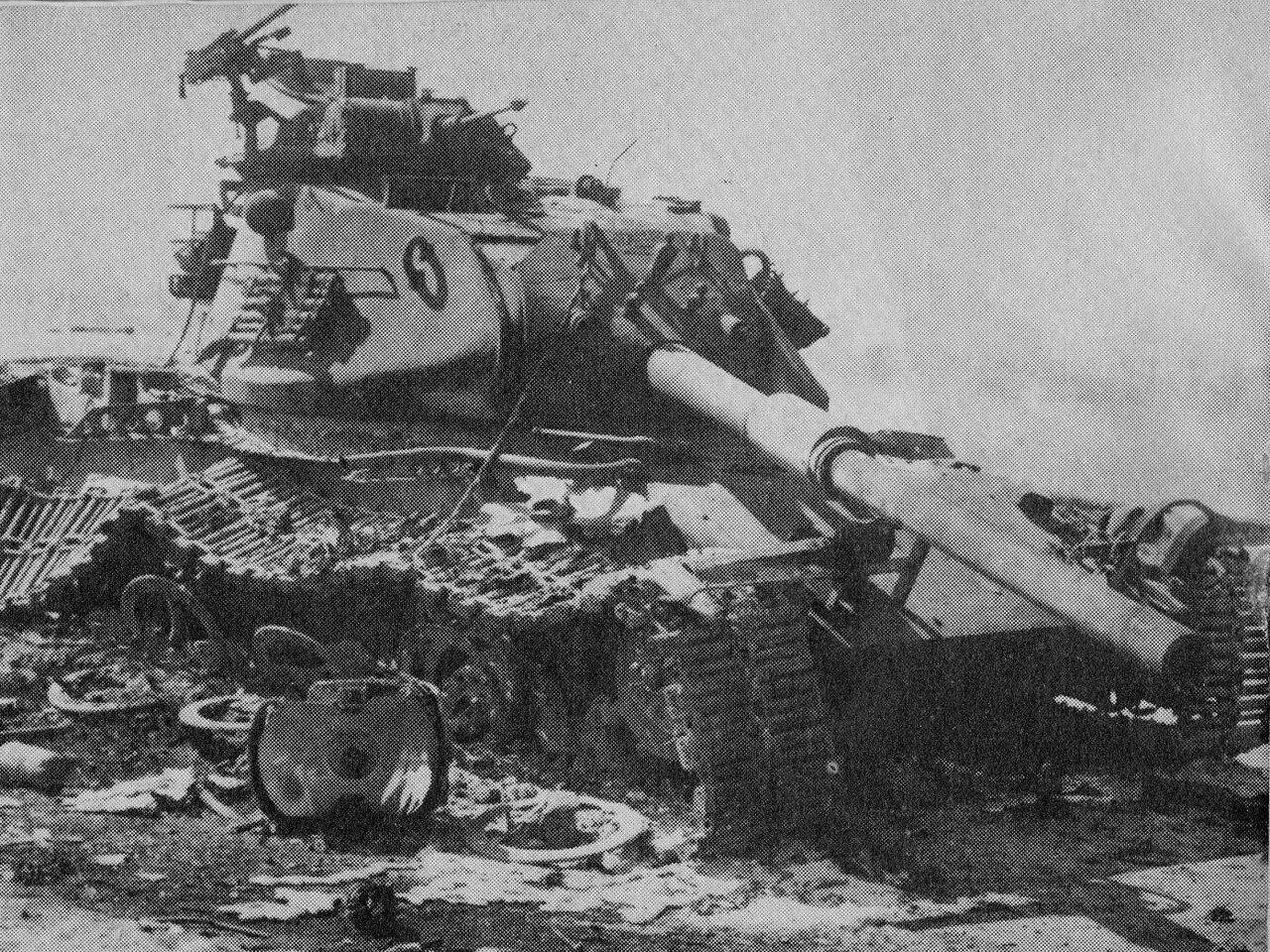 Подбитый израильский танк М-60